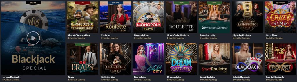 Tortuga Casino Live Games